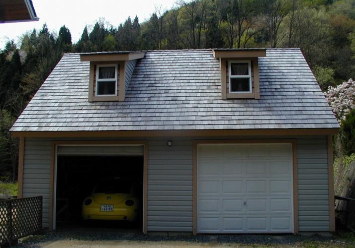 レッドシダーにこだわったの木造ガレージ